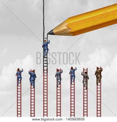 Career advice concept and business success support symbol as a group of businessmen and businesswomen climbing limited ladders but one individual that is helped by a pencil extending opportunity with 3D illustration elements.