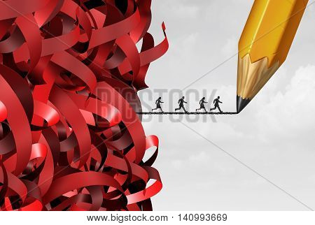 Bureaucracy and administration management success with a group of tangled red tape and people running away on a pencil drawing line as a bureaucratic solution symbol with 3D illustration elements.