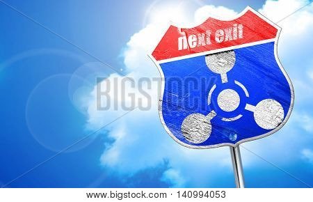 Chemical weapon sign, 3D rendering, blue street sign
