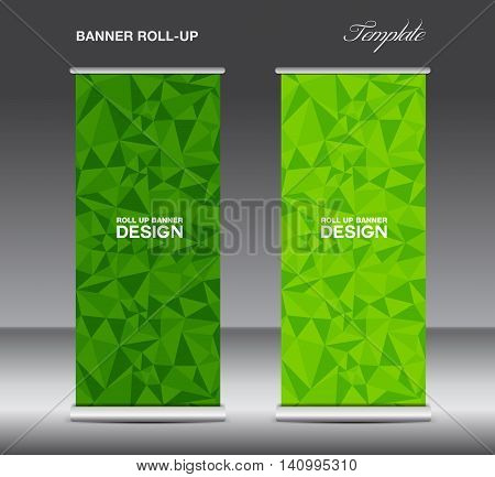 Green Roll up banner template vector polygon background banner design