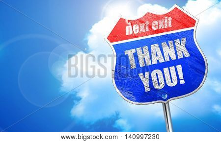 thank you, 3D rendering, blue street sign