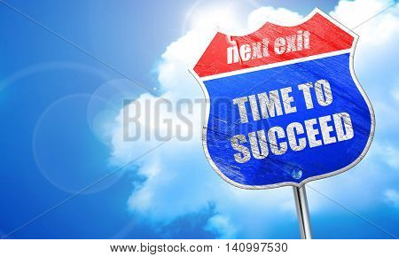 time to succeed, 3D rendering, blue street sign