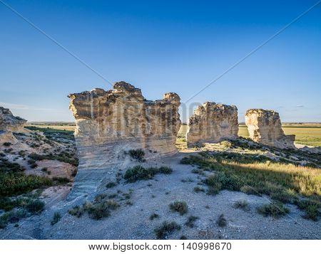 limestone pillar formation near Castle Rock in a prairie of western Kansas near Quinter (Gove County) - aerial view