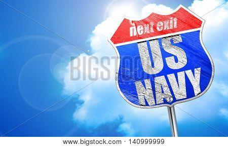 us navy, 3D rendering, blue street sign