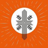 Church logo concept. Pentecost Trinity Sunday. Christian Holy spirit Jesus God. Church sacrament symbol. Biblical cross holy spirit. Religious logo. Vector illustration. poster