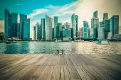 Vintage image of Singapore city skyline of business district downtown in daytime. poster