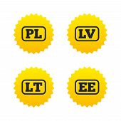 Language icons. PL, LV, LT and EE translation symbols. Poland, Latvia, Lithuania and Estonia languages. Yellow stars labels with flat icons. Vector poster