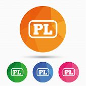 Polish language sign icon. PL translation symbol with frame. Triangular low poly button with flat icon. Vector poster