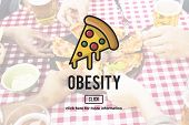 PIzza Slice Junkfood Obesity Calories Concept poster