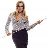Sexy girl with glasses Strict teacher a long black skirt and striped shirt with a pointer in his hand isolated on white poster