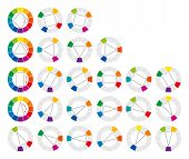 Color wheel and geometric forms showing twenty possible complementary and harmonic combinations of colors in art and for paintings. Illustration. poster