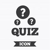 Quiz with question marks sign icon. Questions and answers game symbol. Graphic design element. Flat quiz symbol on white background. Vector poster