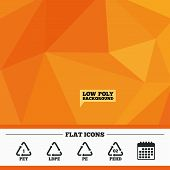 Triangular low poly orange background. PET, Ld-pe and Hd-pe icons. High-density Polyethylene terephthalate sign. Recycling symbol. Calendar flat icon. Vector poster
