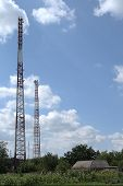 Telecommunication relay towers and antennas cellular wi-fi and other communication. poster
