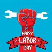 Usa labor day vector background. vector happy labor day poster or banner with clenched fist. poster
