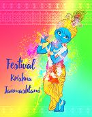 Ornament card with Lord Shri Krishna birthday. Illustration in vector art. Happy Janmashtami Day Hindu. Vedic Feast India. Use for banners, card, wallpaper, print. Cartoon little baby krishna image poster