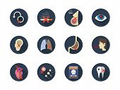 Danger consequences of smoking. Harmful impact of tobacco smoke on a body. Lung cancer, harm to pregnancy, hearts problem and other serious diseases. Round flat color style vector icons collection. poster