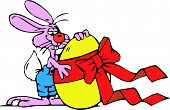 Vectorial image of an Easter bunny with an egg poster