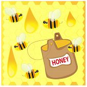 The Vector illustration - Bees and honey on the honeycomb background poster