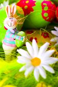 Easter bunny and colorful painted eggs composition poster