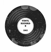 Gramophone vinyl LP record. Radio, rock'n'roll. Music sound. DJ retro music. Vinyl record. Label and badge for radio, pod cast, melody, rock'n'roll, stereo, music, sound, disco party, nostalgia sings poster