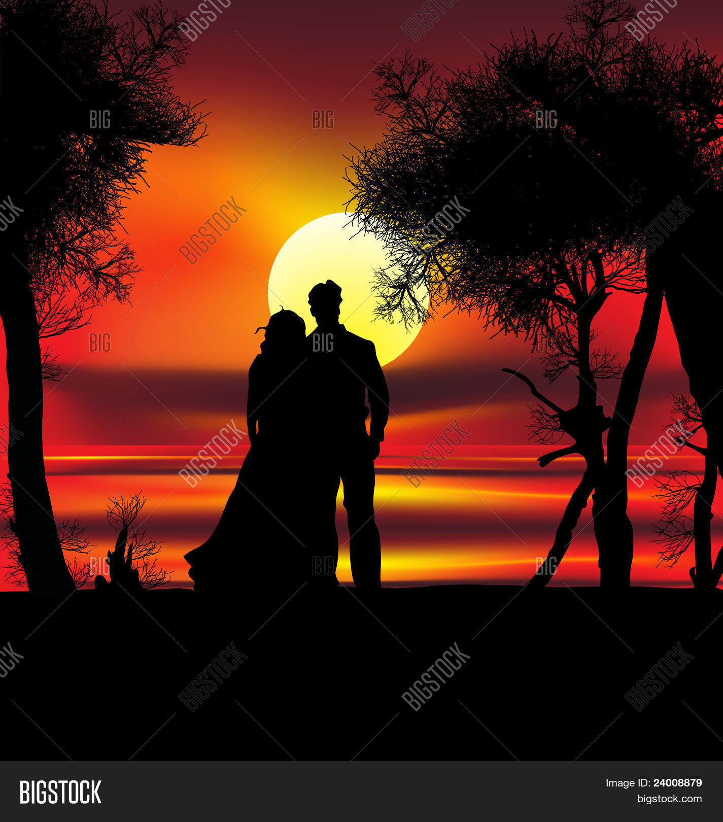 Two lovers on sunset vector photo bigstock for 2 lovers pic