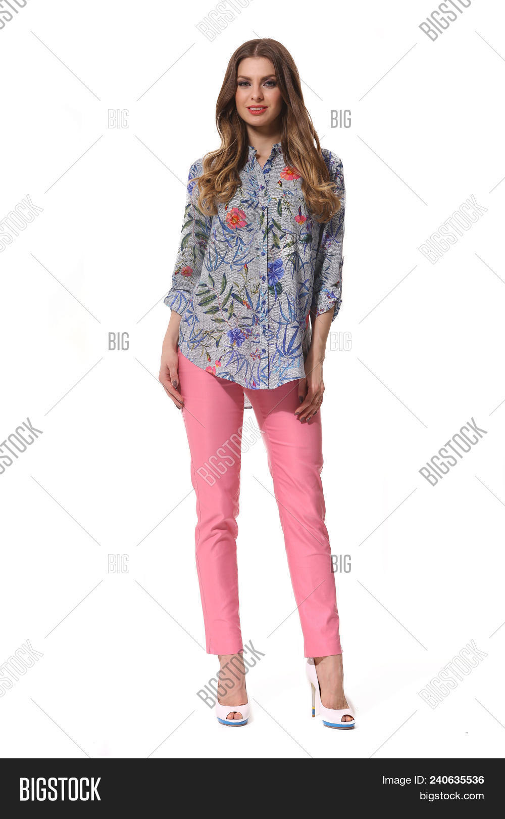 b17fdb4cc8b Young Caucasian Business Woman Executive Posing In Summer Casual Print  Summer Blouse And Jeans High