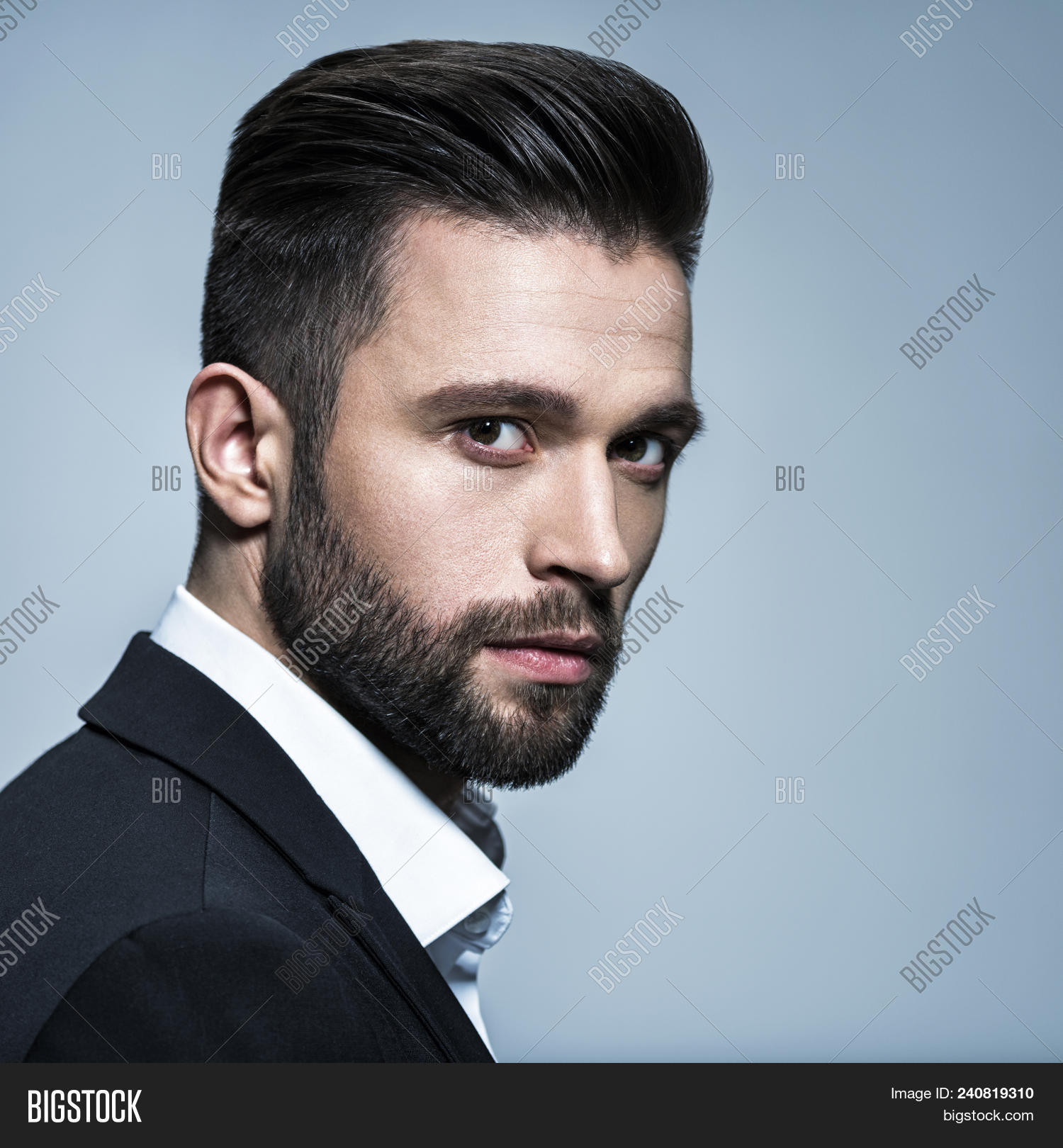Handsome Hairstyles For Men: Handsome Man Black Image & Photo (Free Trial)