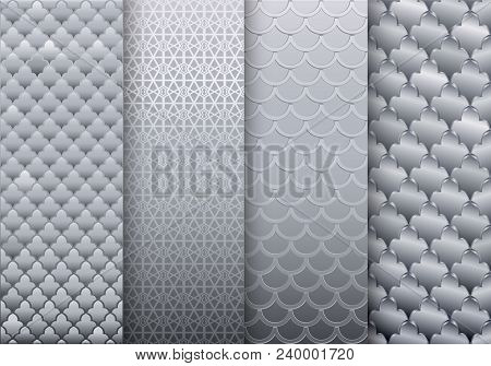 A Set Of Silver Textures Backgrounds. Eastern Or Arabic Style. Luxurious Wall With Embossed Texture.