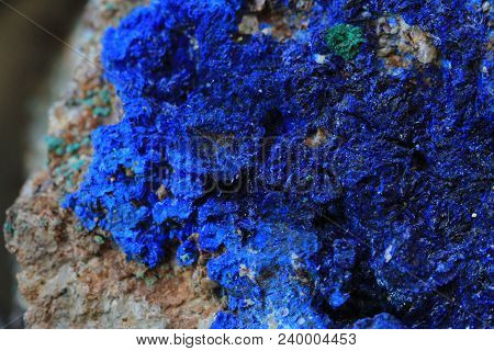 Blue Azurite Mineral Texture As Nice Background