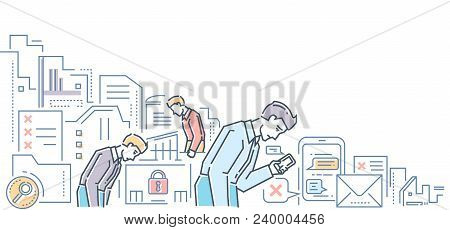Unemployment - modern flat design style colorful illustration on white background. An image of young tired specialists looking for a job, checking their phones, chatting with employers poster