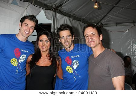 LOS ANGELES - OCT 1:  Adam Gregory, Nadia Bjorlin, Brandon Beemer, Christian LeBlanc arriving at the Light The Night Walk 2011 at the Sunset Gower Studios on October 1, 2011 in Los Angeles, CA