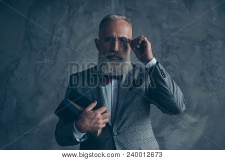 Attractive, Serious Millionaire In Jacket, Holding Three Book, Eyelet Of Glasses With Fingers, With