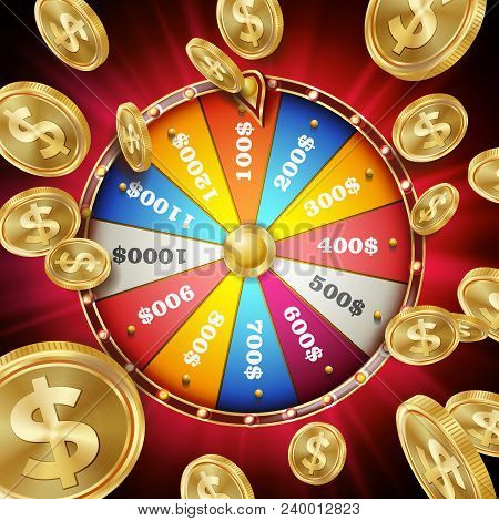 Fortune Wheel Poster Vector. Spinning Lucky Roulette. Prize Concept Background. Casino Club Illustra