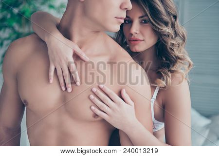 Cropped Portrait Of Half Face Profile Naked Torso Man And Charming Woman With Hairstyle Embracing Hi