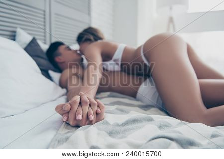 Hand In Hand, Hot Naughty Wife And Husband, Woman Is On Top With Booty Fit Bum, Butt, Laying On Bedc