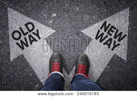 Old Way Versus New Way Written On The White Arrows, Dilemmas Concept.