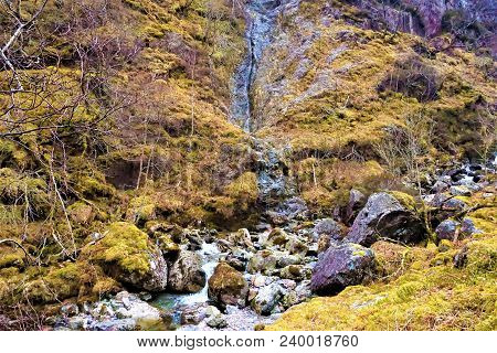 Highland Waterfall Shot On Three Sisters Mountains, Scotland