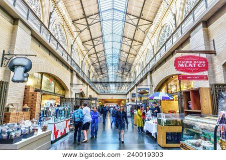 San Francisco - Apr 2, 2018: Shoppers Visit The Public Marketplace At The Historic Ferry Building In