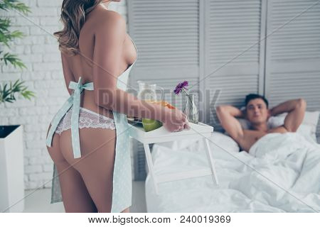 Cropped Portrait Of Naked Woman In Panties And Apron With Booty Fit Ass Holding Tray With Breakfast,