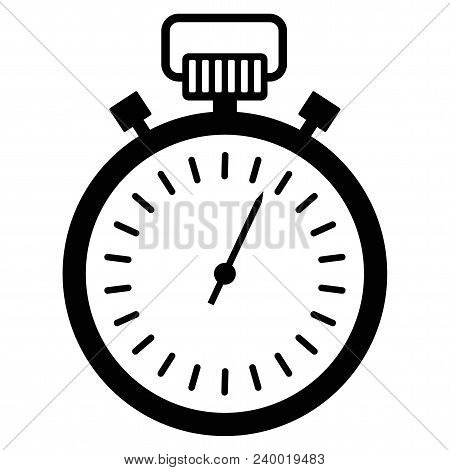 Black Stopwatch Icon. Control And Time Management, The Result Of The Athlete In The Competition. A S