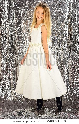 Little girl in fashionable dress, prom. little girl in glamour style. poster