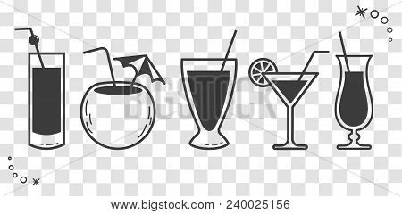 Cocktail Drinks  Linear Style Silhouette