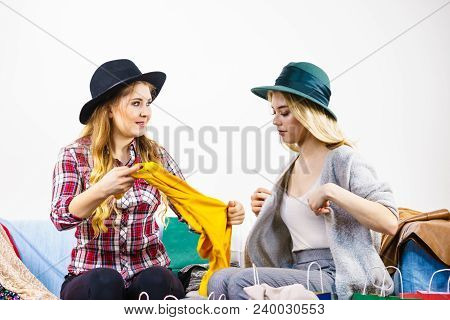 Two Happy Female Friends After Shopping