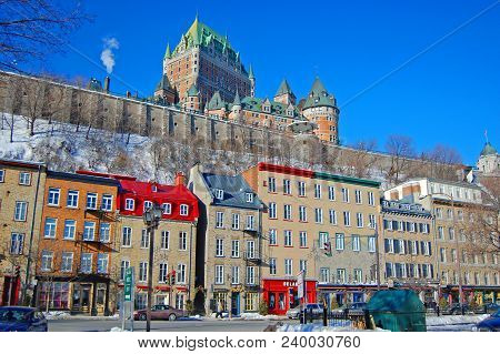 Quebec City - Jan. 24, 2010: Chateau Frontenac Of Quebec City In Winter, Viewed From Boulevard Champ