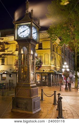 Steam Clock In Gastown Vancouver Bc At Night