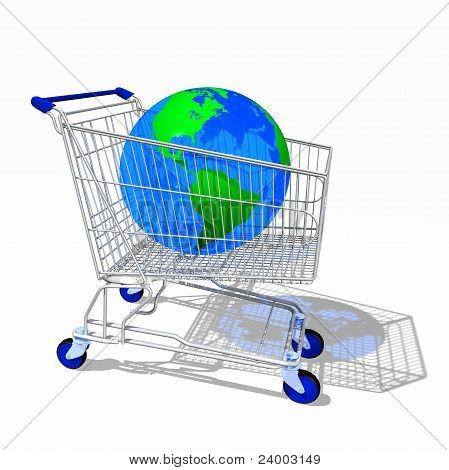 Shopping Cart With Globe