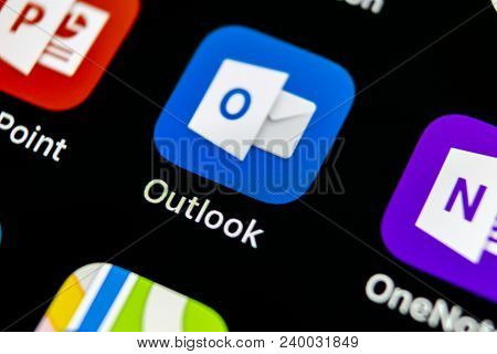 Sankt-petersburg, Russia, May 10 2018: Microsoft Outlook Office Application Icon On Apple Iphone X S