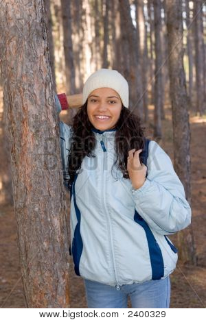 Beautiful Happy Winter Girl In Blue Jacket