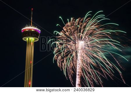 Fireworks Explode Very Close To A Tower During The Opening Celebration Of Fiesta San Antonio In San